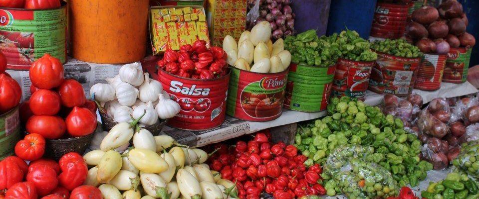 Vegetables in an open market